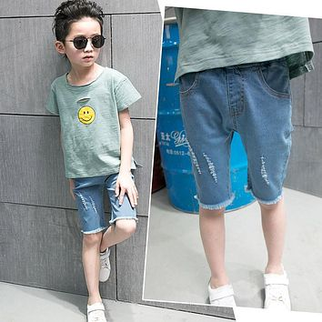 Denim Shorts New Children Ripped Jeans For Boys Blue Shorts Casual Cotton Kids Designer Jeans Trousers 2 4 6 8 10 12 14 Years