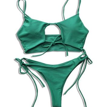 Fleur- Cut Out Tie Up Bikini Set