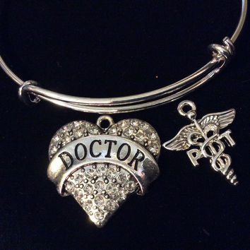Doctor Heart with PT Caduceus Silver Charm Bracelet Expandable Adjustable Bracelet