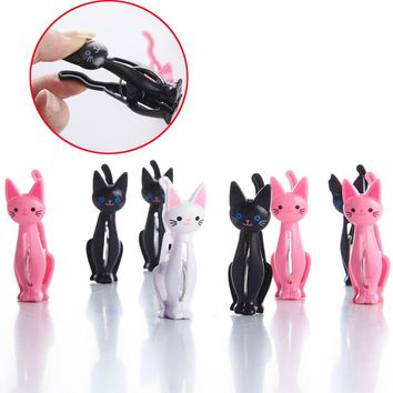 XUNZHE Creative cat cartoon clip strong plastic clothes-pin shape Receive a clip Socks Hanging Pegs Clamps  Laundry Photo holder