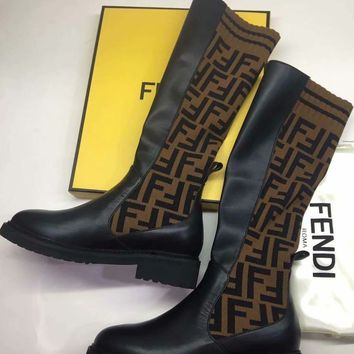 Fendi Logo black Jacquard Stretch Knit leather knight Boots High Heels Shoes