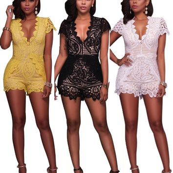 Fashion Deep V Short Sleeve Solid Color Hollow Lace Romper Jumpsuit Shorts