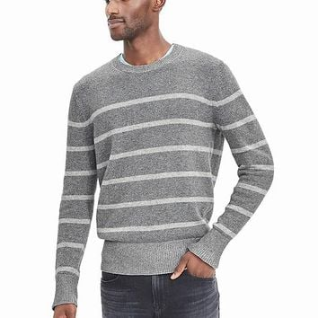 Banana Republic Mens Plaited Stripe Filpucci Italian Wool Sweater Pullover