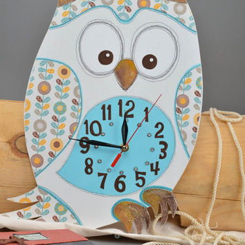 Handmade clock decoupage technique funny owl baby room decoration gift ideas