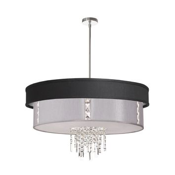 Dainolite 4 Light Polished Chrome Crystal Pendant with Black/Silver and Steel Shade with 790 Diffuser