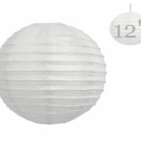 Generic GEN75465 12-Inch Paper Lantern Lamp Shades, White, 12-Pack