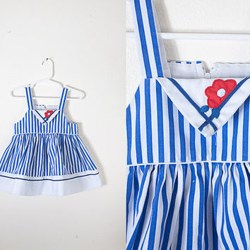 Vintage 70s Baby Dress / 1970s Sun Dress / Toddler Girls Dress / Baby Girl Dress / Retro Baby Dress / Hipster Kids Clothing / Red White Blue