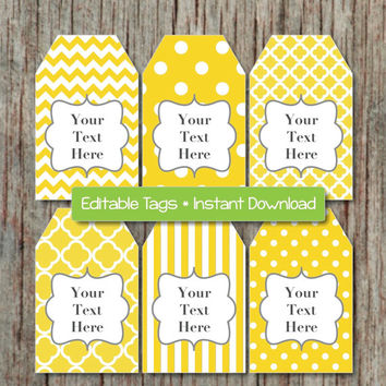 Yellow Grey Birthday Baby Shower Gift Tags Printable Editable Tags JPG File INSTANT DOWNLOAD Printable diy Digital Collage Supplies 004