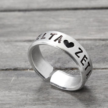 Delta Zeta Ring, Sorority Jewelry, Delta Zeta Jewelry, Sorority Ring, Hand Stamped Ring, Personal Sorority