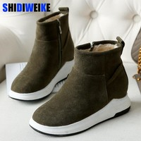 New Women Winter Boots Flock Ankle Snow Boots Female Warm Fur Plush Insole High Quality Botas Mujer Zip Shoes n179