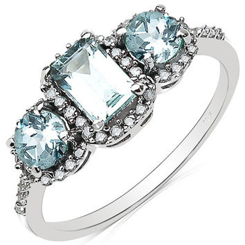1.28 Carat Genuine Aquamarine & White Diamond 10K White Gold Ring