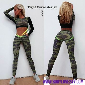 Gym Fitness Tight Women Tracksuit Camouflage