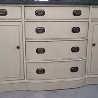 Annie Sloan Chalk Painted Bow Front Buffet/Sideboard/Bathroom Vanity/Dresser/Entertainment center