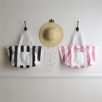 Candy Striped Beach Tote Bag Free Embroidery