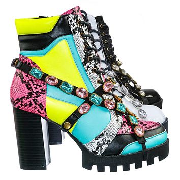 Glenna12 Punk Rock Chunky Ankle Booties - Jewel Color Military Combat Block Boot