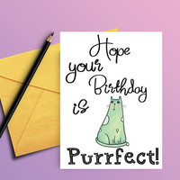 Cat birthday card - Birthday card from cat - Card for cat lover - Funny bday card  - Funny birthday card - Card for best friend