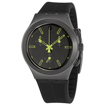 Swatch YCM4000 Unisex Ray of Light Irony Black Dial Chronograph Rubber Strap Watch