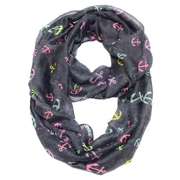 Cozy by LuLu - Anchor Confetti Infinity Scarf Dark Gray