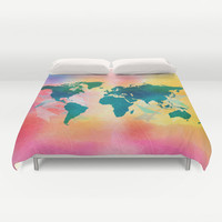 Bohemian Duvet Cover, boho world map, decorative Bedding, wotercolor map, Home Interior Decoration
