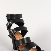 Liliana Leatherette Buckle Strappy Open Toe Chunky Heel Color: Black, Size: 10