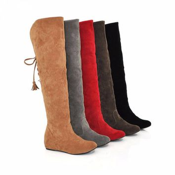 2016 New Womens Thigh High Boots Stretch Over The Knee Suede Leather Boots 35-43 Flat