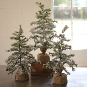 Artificial Pine Trees With Snow Detail And Burlap Pot (Set of 3)