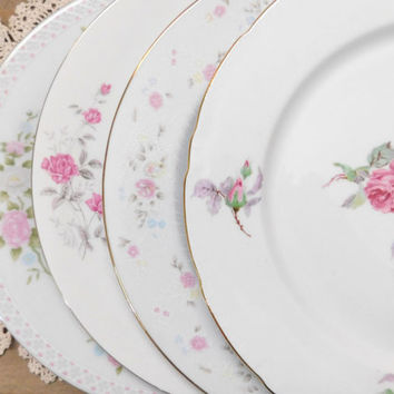 "Mismatched China Dinner Plates Pink Floral Mid Century 10"" Set of 4"