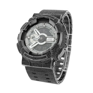 Black G-Shock GA110SL-8A Watch Custom Iced Out Black Simulated Diamond