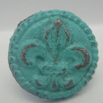 Fleur de lis Cast Iron Round Drawer Pull / Knob / Cabinet Knobs Shabby Chic Distressed Rustic French Decor Aqua / Turquoise