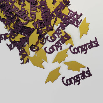 Purple and gold graduation confetti, grad party decorations, Congrats 2016 graduates, your school colors, 100 pieces
