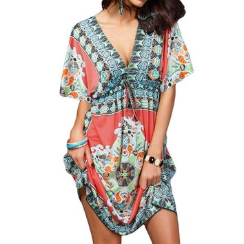 2017 Retro Women Bohemian Dress Vintage Floral Pattern Paisley Print Hippie V-Neck Short Sleeve Beach Wear Summer Dress Vestidos
