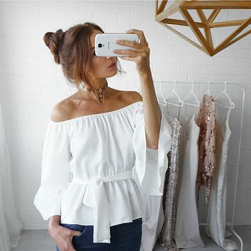Off Shoulder Long Sleeve Solid Color Bandage Chiffon Shirt Women Tops