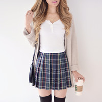 Pleated Plaid Skirt - Green