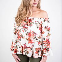 Floral Off The Shoulder Ruffle Top