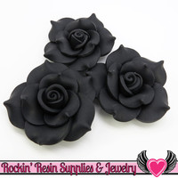 42mm Black Polymer Clay Rose Flatback Cabochons ( 3 pieces )