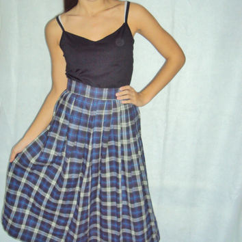 90s Plaid Skirt / Grunge/ Full Skirt S, M / Plaid Flannel / Grunge 90s / High Waist / Blue Black / Midi Length Skirt S, M /