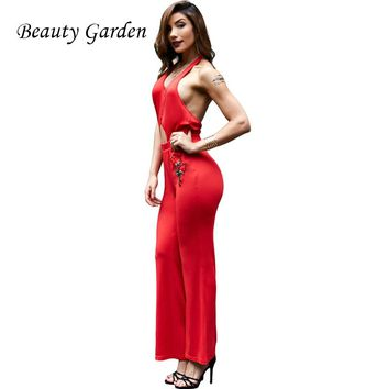 Beauty Garden Sexy Women Jumpsuit Backless Hollow Out Full Length Flare Pants Jumpsuit Halter Embroidery Floral Decoration