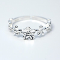 925 sterling silver lovely flower opening ring ,simple flower ring,a perfect gift
