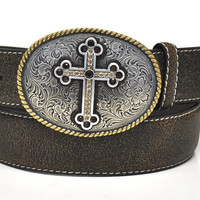 Nocona Ladies Western Antique Cross Buckle Brown Leather Belt