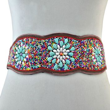 Gypsy Boho Seed Bead Statement Belt