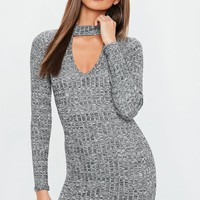 Missguided - Grey Ribbed Choker Neck Bodycon Dress