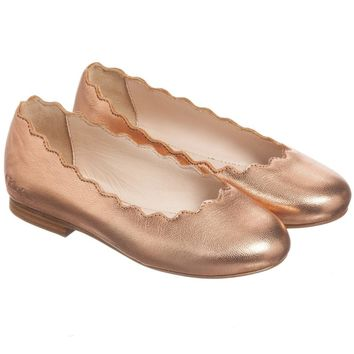 Girls Rose Gold Leather Ballerina Flats (Mini-me)