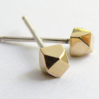 Gold Stud Earring - Geometric Faceted Jewelry - Gold Earrings Studs