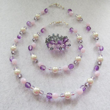 Handmade purple pearl, white & opal rose beaded ring,necklace and bracelet set