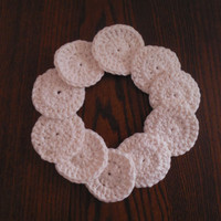 Cotton Facial Rounds (set of 10) Cream/Ecru or White, Washable, Hand crocheted, Made to Order