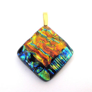 Fused Dichroic Glass Pendant, Glass Slide - Main Attraction - Large Gold Bai by mysassyglass