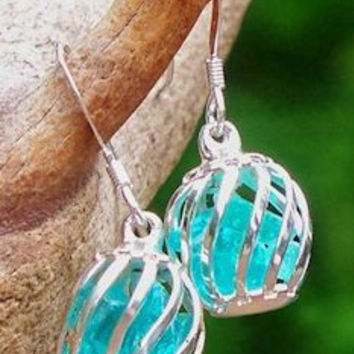 Reclaimed Glass Ice Cage Earrings