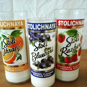 Stoli Vodka Bottle Soy Candle Bundle- Citrus, Raspberry and Blueberry flavors- 3 candles