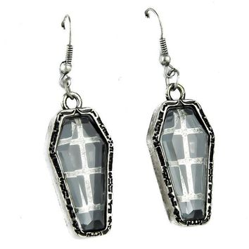ac spbest Antique Silver Finish Coffin Earrings Catacomb Cemetery Jewelry Cosplay