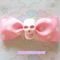 Pastel Skull Hair Bow Clips